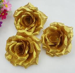 Gold Roses Artificial Silk Flower Heads 10cm Wholesale Lots for Kissing Ball Flowers Pomander Wedding Arrangement