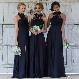 Elegant Navy blue Bridesmaid Dresses for Wedding Chiffon A-Line Halter Slit Formal Dresses Party Lace Modest Maid Of Honor Dress