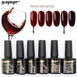 Yayoge Gel Nail Polish Wine Red Set Soak Off LED UV Gel Varnish Salon 10ml 6colors nail art DIY manicure Gel Nail Polish