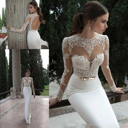 2020 Sheath Berta Wedding Dresses Illusion Long Sleeve Crew Neckline with Appliques Lace Backless Vestidos de Noiva Beach Bridal Gowns