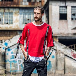 European Original High Street Arc Skirt False Two Paper Male T Shirt Fabric Bring Round Neck Fivepence Sleeve Men's Wear Skate Easy T Pity