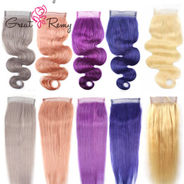 Greatremy® 8A Straight Human Hair Closure Body Wave Blonde Pink Purple Blue Gray Colorful Lace Closure