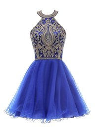 Halter Juniors Cocktail Party Dresses Royal Blue Gold Lace Appliques Homecoming Dresses Short Sweet 15 Prom Dresses