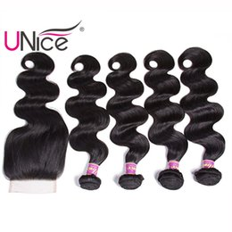 UNice Hair Malaysian Body Wave 4 Bundles With Closure Remy Human Hair Extensions Unprocessed Hair Weaves Bundle With Lace Closure Wholesale