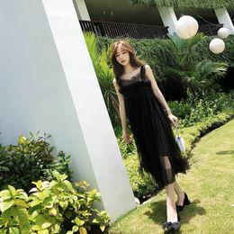 Shanshan is very difficult to make handmade skirt, spring and summer new medium long net gauze sling fairy dress.