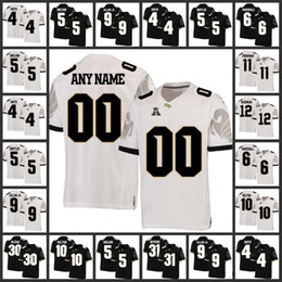Custom NCAA UCF Knights #10 McKenzie Milton 18 Shaquem Griffin 5 Blake Bortles 6 Brandon Marshall Black Gray White Stitched College Football