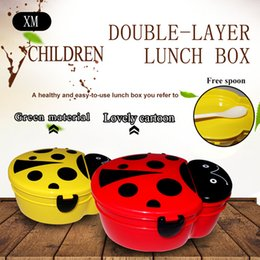 Eco-Friendly pp Double decker lunch box for children Equipped with a spoon,Multiple shapes and cartoons