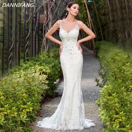 2018 Sexy Backless Mermaid Wedding Dresses Summer Beading Sequins Lace Wedding Bridal Gown Side Split Vestido De Noiva