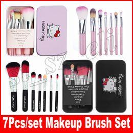 NEW Hello Kitty Make Up Cosmetic Brush Kit Makeup Brushes Pink Iron Case Toiletry Beauty Appliances 7pcs set DHL free