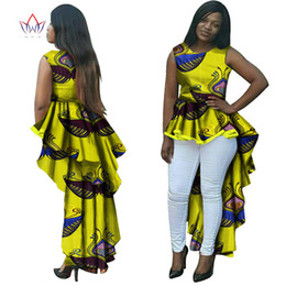 BRW Dashiki African Wax Print Long Dresses for Women Plus Size African Style Women Clothing Office Party Bazin Riche Dress WY145