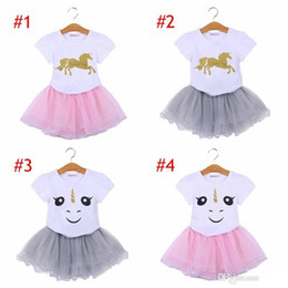INS Unicorn Kids Baby Girls Outfit Clothes Cartoon T-shirt Tops & girls Tutu Tulle Skirt Dress girls suits Clothes 2pc Sets 6style choose