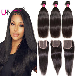 UNice Hair Peruvian Straight Human Hair Bundles With Closure Human Hair Extensions Remy Weaves Bundle With Lace Closure Wholesale Bulk