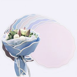 Round Rippled Edge Flower Wrapping Paper Korean Waltz Wave Circle Florist Flower Packing Paper Bouquet Decoration 20pcs lot