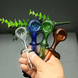 Hot new single round colored glass pipe, Glass Bong Water Pipe Bongs Pipes Accessories Bowls, color random delivery