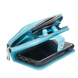 For iPhone 7 6 Plus X Detachable Leather Wallet Case Removable Purse Pouch Flip Card Back Cover Zipper Cell Phone Soft Gel Cases