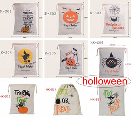 hot sale 9style Halloween Large Canvas bags Holloween cotton Drawstring Bag With Pumpkin, devil, spider, Hallowmas Gifts Sack Bags 36*48cm