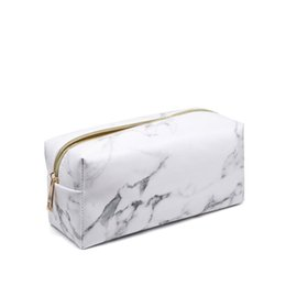 2018 Fashion Marble PU Leather Stone pattern Cosmetic Bag Zipper Storage Bag Portable Ladies Travel Square Makeup Brushes Bag