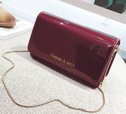 Oblique small square package 2018 new female bag patent leather chain mirror shoulder bag