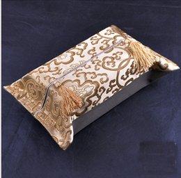 Creative Decorative Christmas kleenex Tissue Box Cover High quality Chinese Silk brocade Tassel Facial Napkin Case 5pcs lot mix color