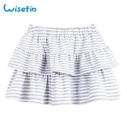 Wisefin 2018 New Girl Cotton Skirt Baby Cute Striped Pleated Miniskirt Soft Toddler Tutu Summer Kids Casual Short Skirts