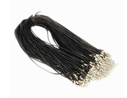 100PCS 2mm Black Genuine Leather Necklace Cord String Rope Wire 45cm DIY Jewelry Extender Chain With Lobster Clasp Components