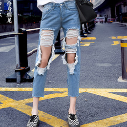 9ce03a7129f Big Ripped Jeans Women Denim Pants Hole In The Knees Tattered Jeans Design Women  Plus Size 5 Xl Jean Boyfriend Femme Highwaisted