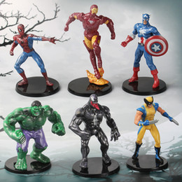 6PCS Lot Avengers Action Figures Captain America Spiderman Thor Hulk Bat Man X-Man Wolverine Super Heros opp bag 6-7.5CM Super woman ironman