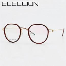 1a780f3f93 ELECCION Ultralight Titanium Korean Round Glasses Frame Women 2018 New Myopia  Eyeglasses Optical Frames Men Screwless Eyewear