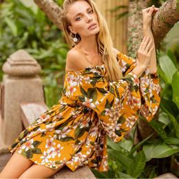Summer Women Boho Floral Off Shoulder Loose Ruffle Bohemian Sexy Short Dress Mini Beachwear Sundress Fashion Vestidos DK3036CS