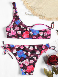 2018 New Women Summer Sport Sexy Stripe Print Frill Bikini Girls Swimwear Flower Print Two Piece Beach Swimming Wear