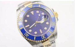 Envío Gratis Marca de Lujo de Alta Calidad Reloj Automático aaa Dos Tonos Sub Dial Azul Banda Inoxidable Reloj Mecánico Morno
