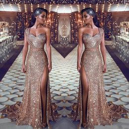 2019 One Shoulder Sequin Mermaid Prom Dresses Ruched Split Beaded Waistband Party Gowns Sweep Train Plus Size Evening Gowns BC0131