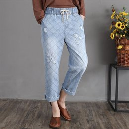 Women Boyfriend Diamonds Baggy Capris Ripped Blue Jeans for Girls on Sale Summer Loose Elastic Waist Ladies Cuffed Denim Trousers Jean Pa