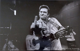 Free Shipping Johnny Cash Middle Finger Guitar Music High Quality Art Posters Prints Home Decor Wall Paper 16 24 36 47 inches