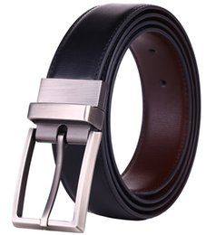 Men's Reversible Dress Leather Belt with Rotate Prong Buckle Two in One Belts Black Brown & Black Blue Size 28-54 Waist Innovation Strap