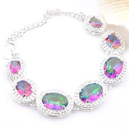 luckyshine Fashion Best Seller 925 Sterling silver Round mystic topaz Gemstone bracelets Bangle Hand catenary h535