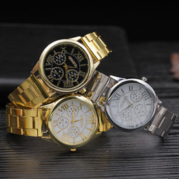 Wholesale GENEVA Top Quality Stainless Steel Luxury Casual Watch Fashion Clock For Man 4 Colors Free Shipping