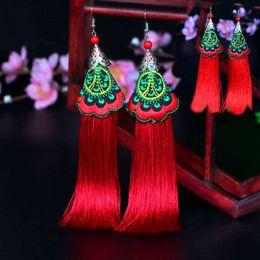 Original handmade folk style embroidered earrings Vintage tassel earrings Show stage Bridal ear jewelry