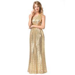 Women's Single Shoulder Bridesmaid Dress Evening Prom Dress With Sequins Elegant Dresses