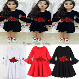 Retail Baby Girls Flare Sleeve Embroidered Flower Princess Dresses Kids Red White Cute Pleated A Line Dress Child Fall boutique clothes