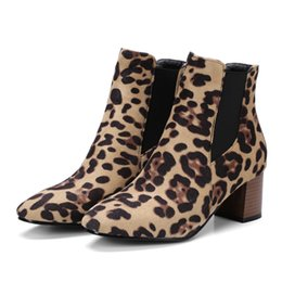 Gorgeous Leopard Print and Black Suede Women Chelsea 5cm Chunky Heels Ankle Booties Ladies Short Boots