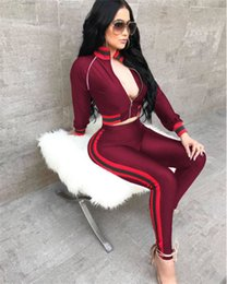 2018 Fashion Tracksuit Set Women's Sets New Arrival Green Red Striped Two Piece Zipper Short Jackets and Pants Sweat Suits