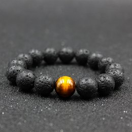 Hot 12mm Bead Bracelets Natural Lava Rock Stone Healing Stone Buddhist Prayer Beads Tibetan Mala Handmade Bracelet Necklace
