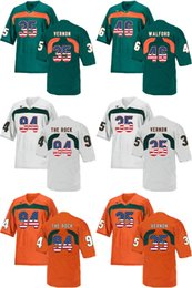 Factory Outlet- NCAA Miami Hurricanes Walford 46 Vernon 35 THE ROCK 94 College Football Jerseys Size:S-3XL,Mix order Sport Jersey