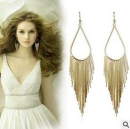2018 Fashion Dangle gold metal Elegant Large Earrings Long Design Vintage Tassel Earring Drop Dangle Earring