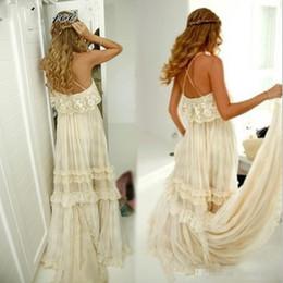 2018 Summer Hippie Style Boho Beach Wedding Dresses Sexy Spaghetti Straps Tiered Lace Chiffon A Line Bohemian Bridal Gowns