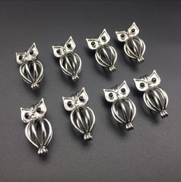 Pearl cage necklace pendant, essential oil diffuser, owl provides stainless steel color 10pc, plus your own pearl makes it more attractive