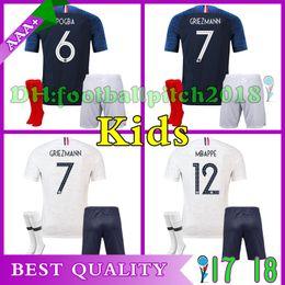 Best quality GRIEZMANN MBAPPE child soccer jersey 2018 world cup Kids kit POGBA UMTITI LACAZETTE boy football shirt uniforms maillot de foot