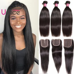 UNice Hair Virgin Peruvian Straight Hair 4 Bundles With Closure 100% Human Hair Extensions Weave Bundle With Lace Closure Cheap Wholesale