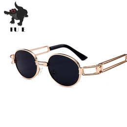 FU E 2018 metal frame steampunk style fashion oval sunglasses ladies retro brand design men's sunglasses UV400 9008